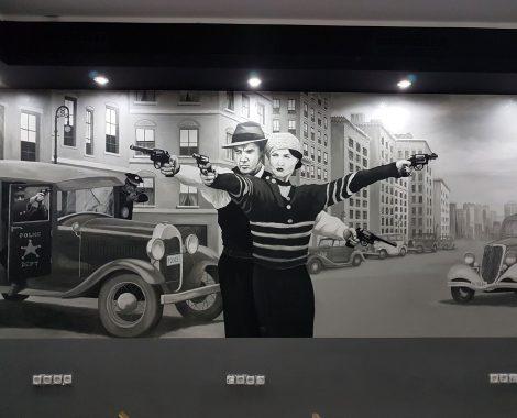 portraitmalerei shisha bar Bonnie und Clyde