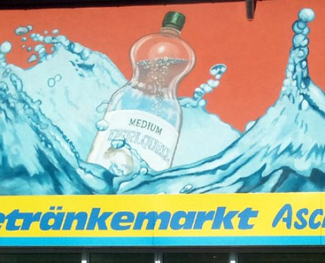 werbemalerei und schriftenmalerei perlquell wasserflasche