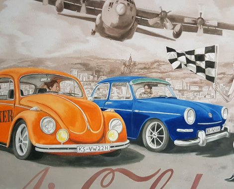 portraitmalerei vw autos