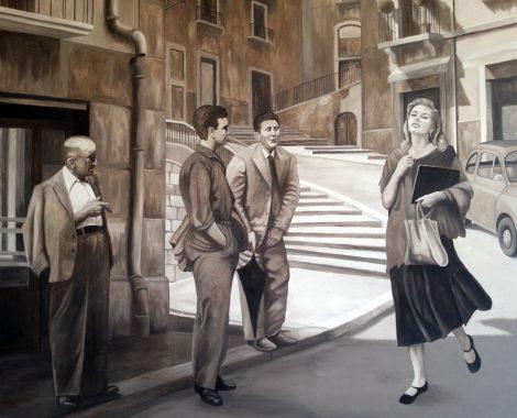 portraitmalerei wandmalerei sofia loren